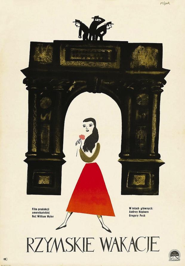 1. Locandina polacca di VACANZE ROMANE di William Wyler (autore Jerzy Flisak)